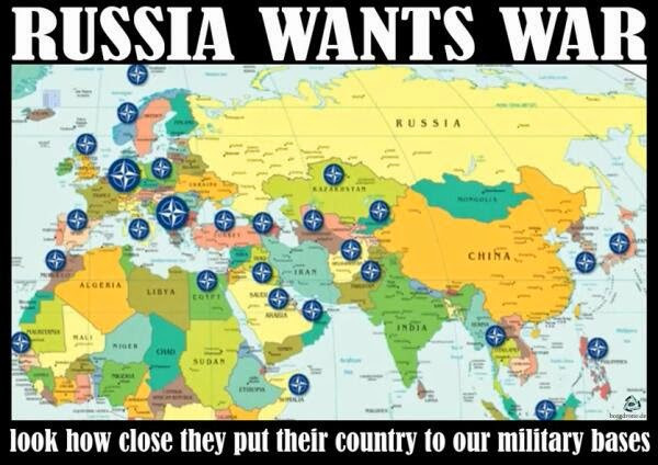 Military bases surrounding Russia
