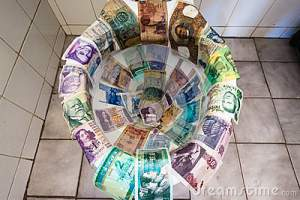 currencies in toilet